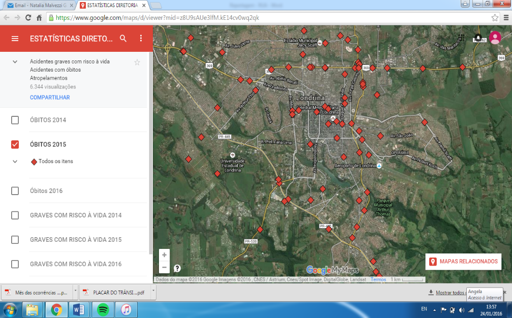 Mapa de Londrina com os óbitos do ano passado